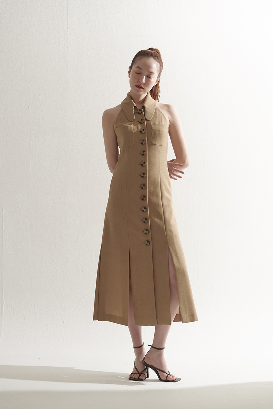 Round Collar Button Front Dress