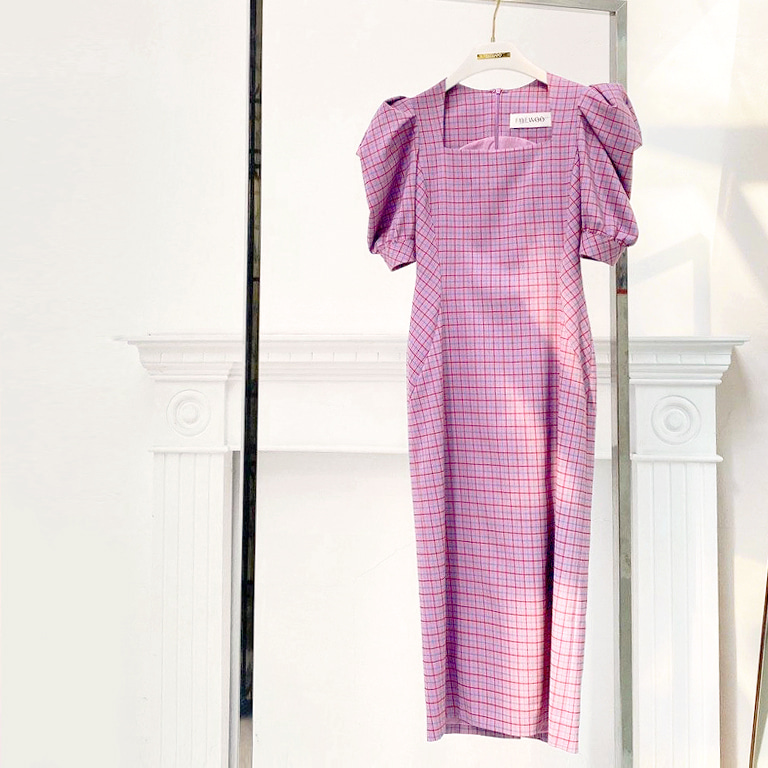 Rolling Check Onepiece(Light purple)