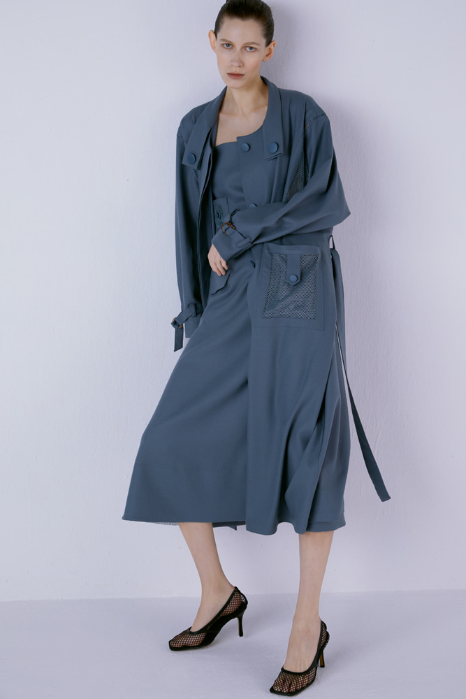 Patch-Pocket Single-Breasted Trench Coat